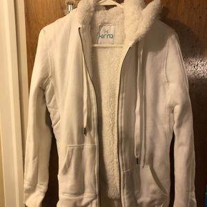 White Fur Lined Zip Up Hoodie